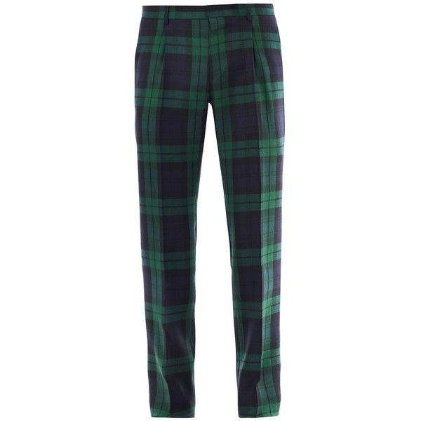 13ad230fdc0b VALENTINO Front pleat plaid trousers ( 559) ❤ liked on Polyvore featuring  men s fashion