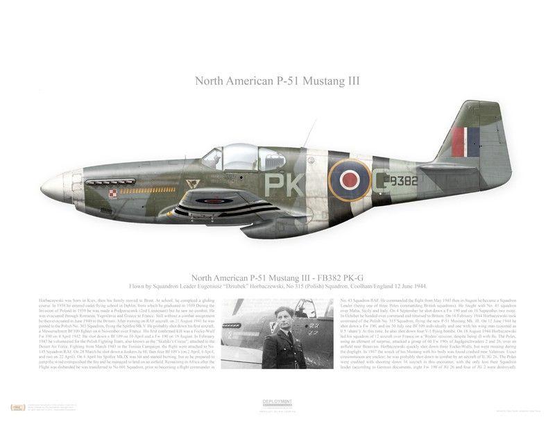 Aircraft profile print of P-51 Mustang III - FB382 / PK-G - 1944 ...