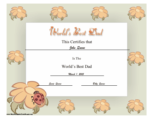 the world s best dad will love this printable certificate on