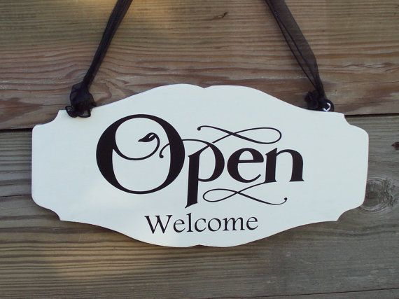 whimsical chic style shop open welcome closed please come again wood vinyl sign business office supply