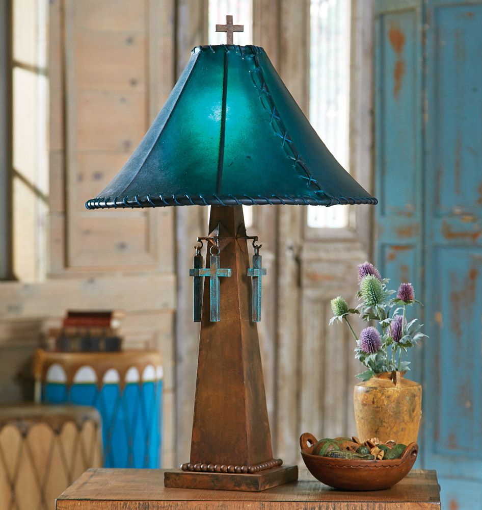 Santa cruz turquoise table lamp with rawhide shade mon petit santa cruz turquoise table lamp with rawhide shade geotapseo Images