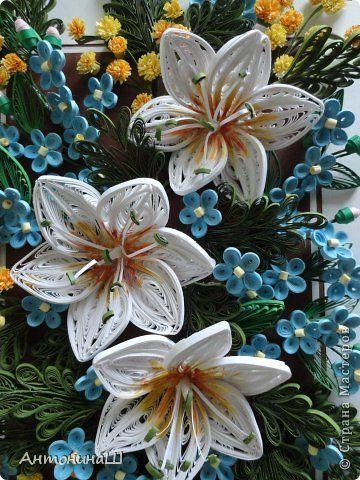Картина панно рисунок Квиллинг Вальс цветов Бумажные полосы фото 5
