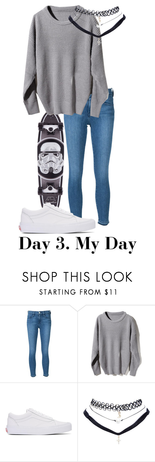 """""""Day 3."""" by jadettaa ❤ liked on Polyvore featuring Frame Denim, Vans and Wet Seal"""