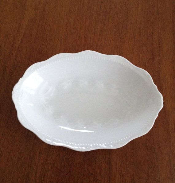 Antique Soap Dish White Porcelain Hermann Ohme Silesia Mark On Base 1900s Scalloped Rim Decorated Embossed White On White Dish Soap White Porcelain Soap