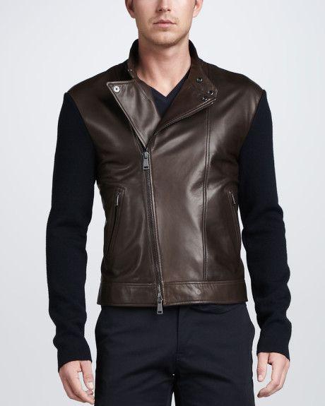 986f89bac Men's Brown Leather Biker Jacket with Sweaterknit Sleeves | Men's ...