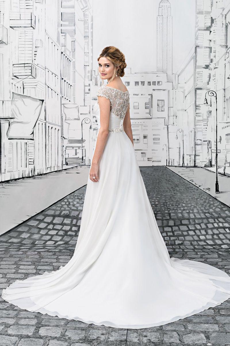 0b22b8b1deb Find Your Dream Wedding Dress. Justin Alexander Chiffon Ball Gown with  Beaded Portrait Neckline