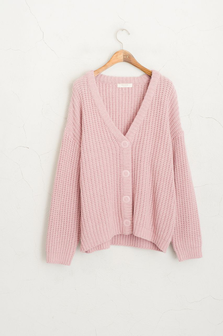 Olive - Boucle Cardigan, Pink, £65.00 | Sweaters | Pinterest ...
