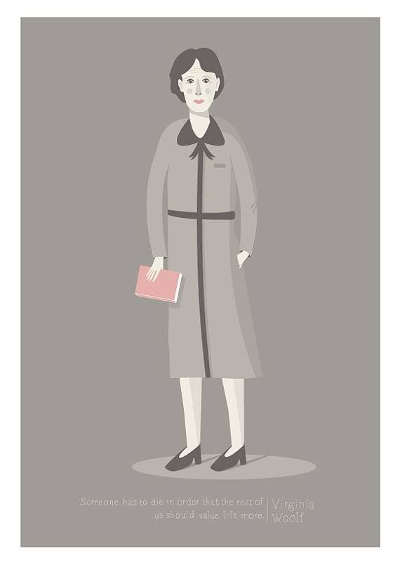 Virginia Woolf, illustration by Judy Kaufmann 132nd anniversary of Virginia's birth (25 January, 1882)
