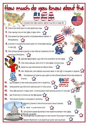 20 questions to check what your students know about the USA Key - free printable quiz