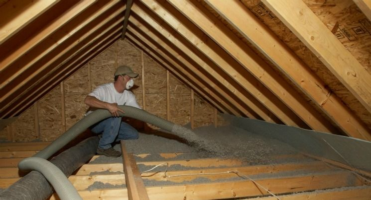 Cellulose A Fiber Insulation Material With A High Recycled Content Is Blown Into A Home Attic Photo Court Attic Flooring Insulation Materials Attic Design