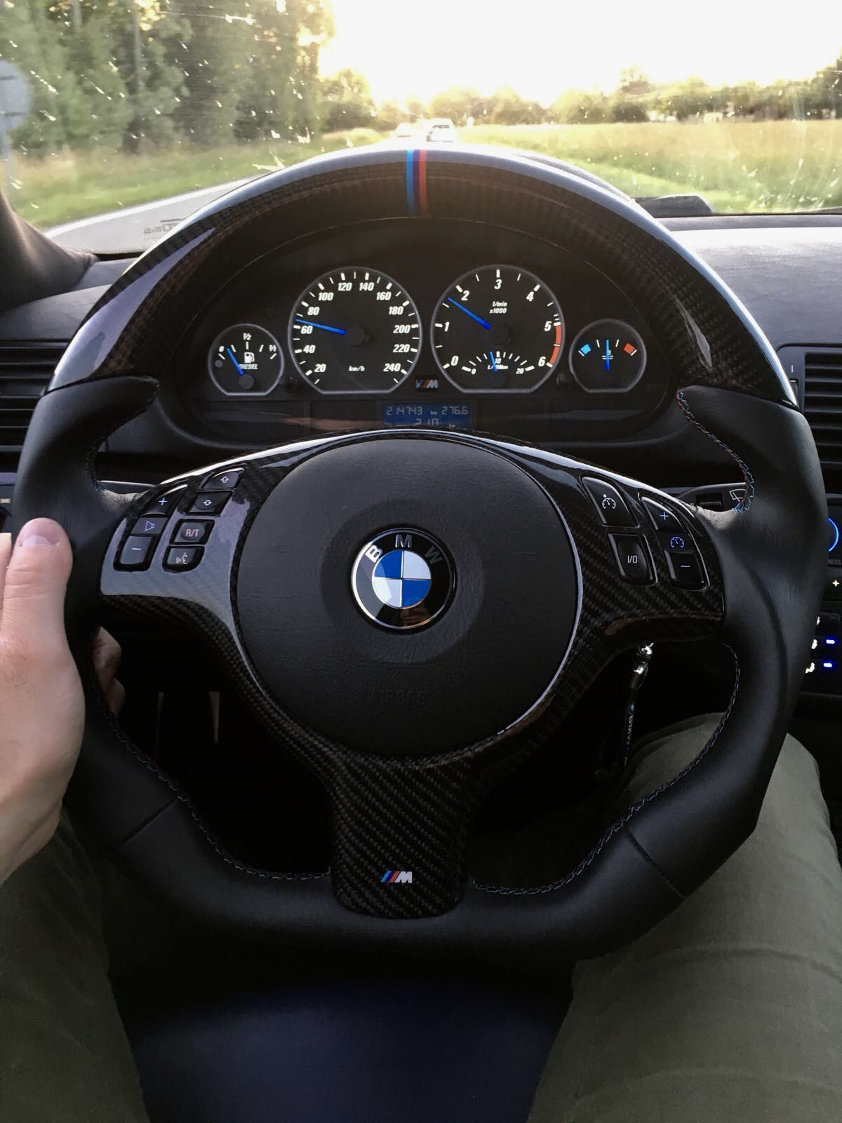 Full Reshaped Steering Wheel With Carbon Fibre Nappe Leather