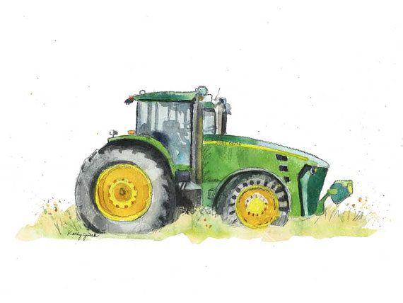 Green Tractor Print- Farm Tractor Print - Truck Nursery Print - Farm ...