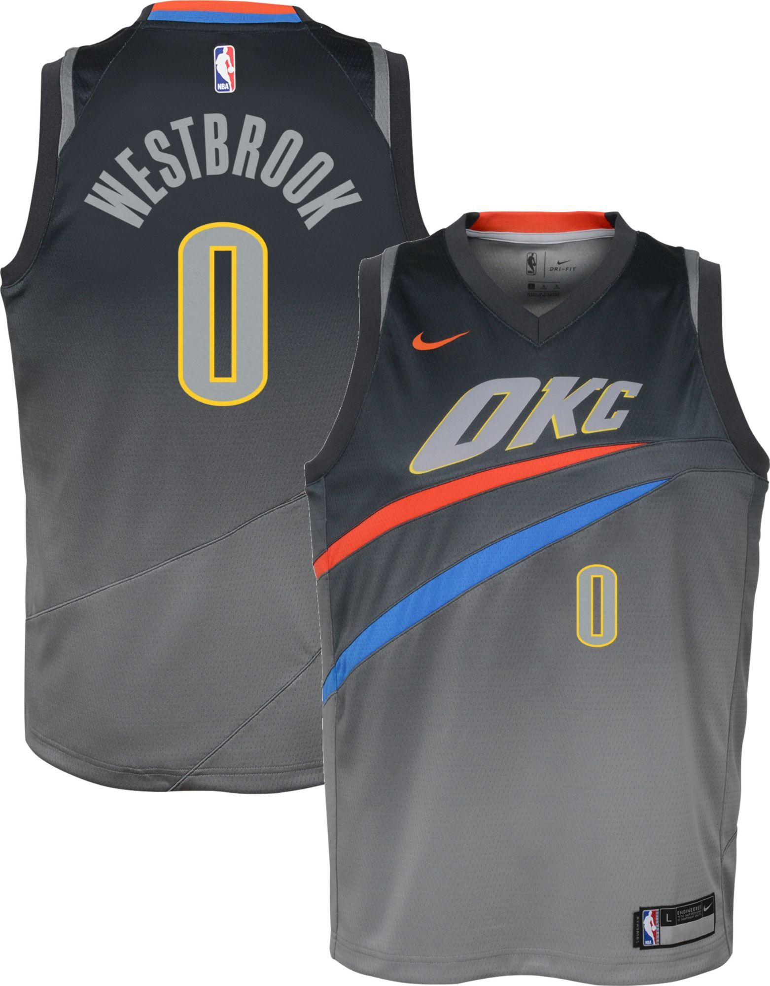 b7f1e0c05fc Nike Youth Oklahoma City Thunder Russell Westbrook Dri-FIT City Edition  Swingman Jersey, Size: Medium, Multi