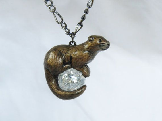 Otter necklace pendant polymer clay nutrias astrologa y accesorios a perfect gift for yourself or the otter lover in your life a cute little aloadofball Images