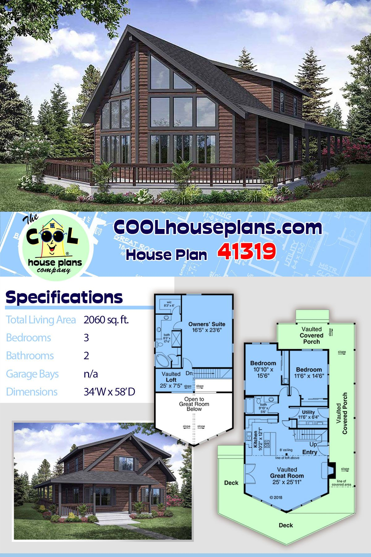 Narrow Lot Style House Plan 41319 With 3 Bed 2 Bath Lake House Plans Contemporary House Plans Cabin Floor Plans