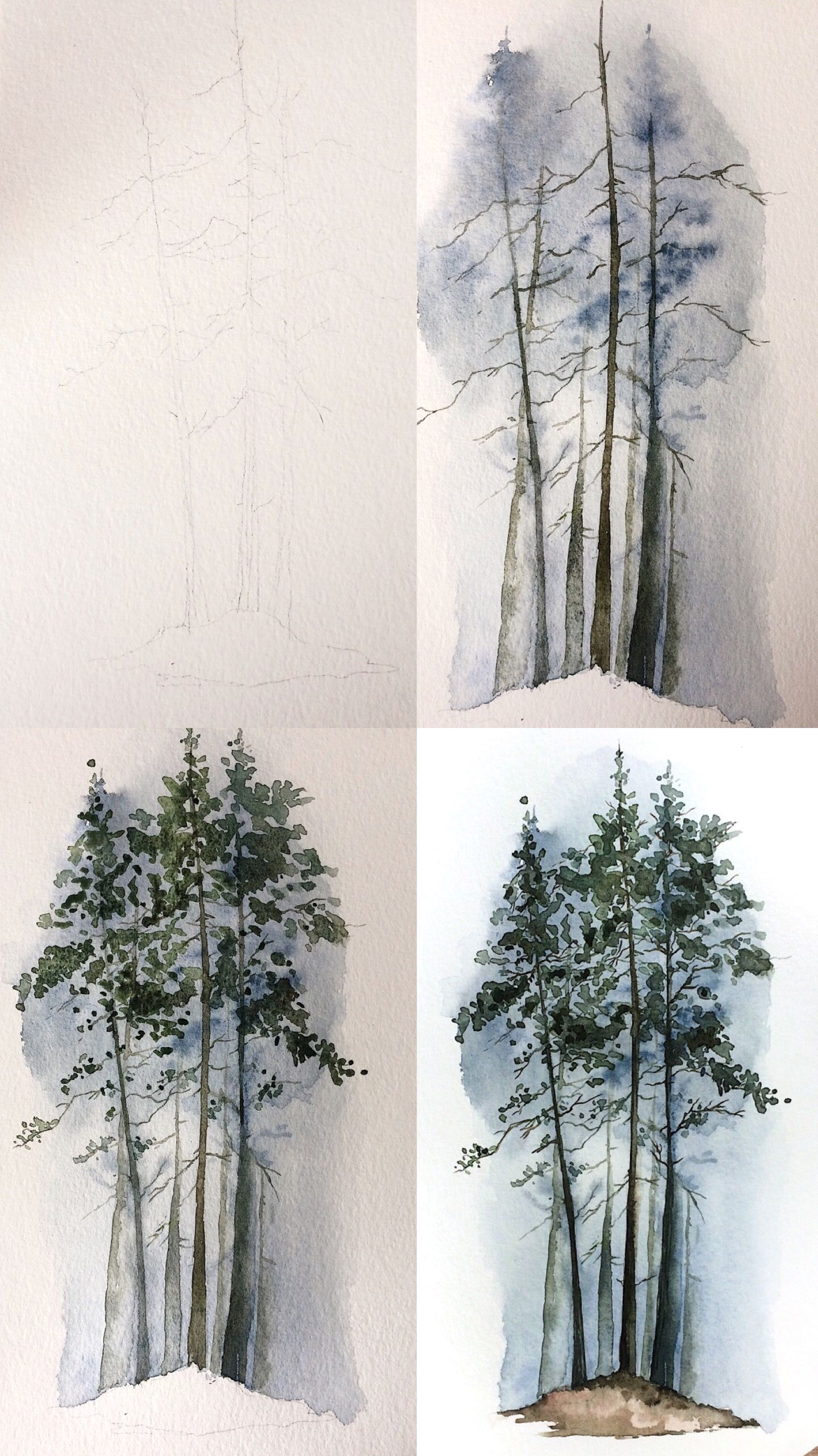 Rosies Sketchbook Evergreen Trees Mini Tutorial Process Photos