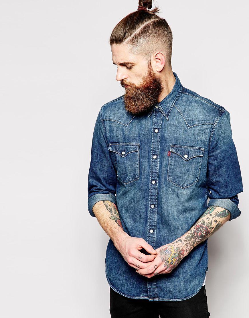Levis Denim Shirt Barstow Western Slim Fit Dark Wash