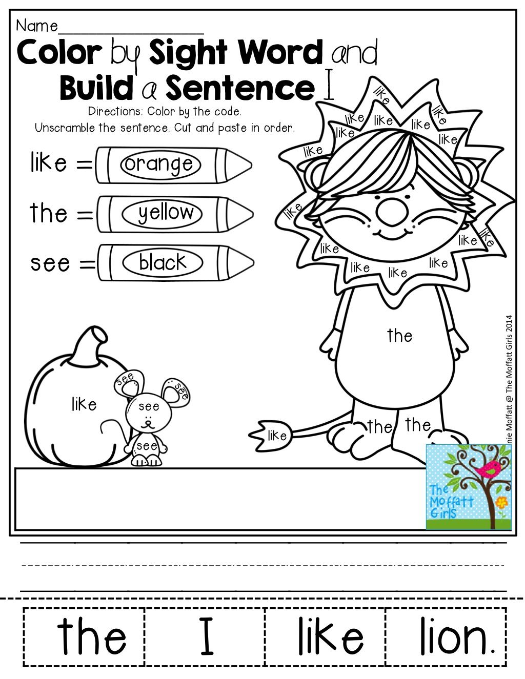 Color By Sight Word And Build A Sentence So Many Fun And