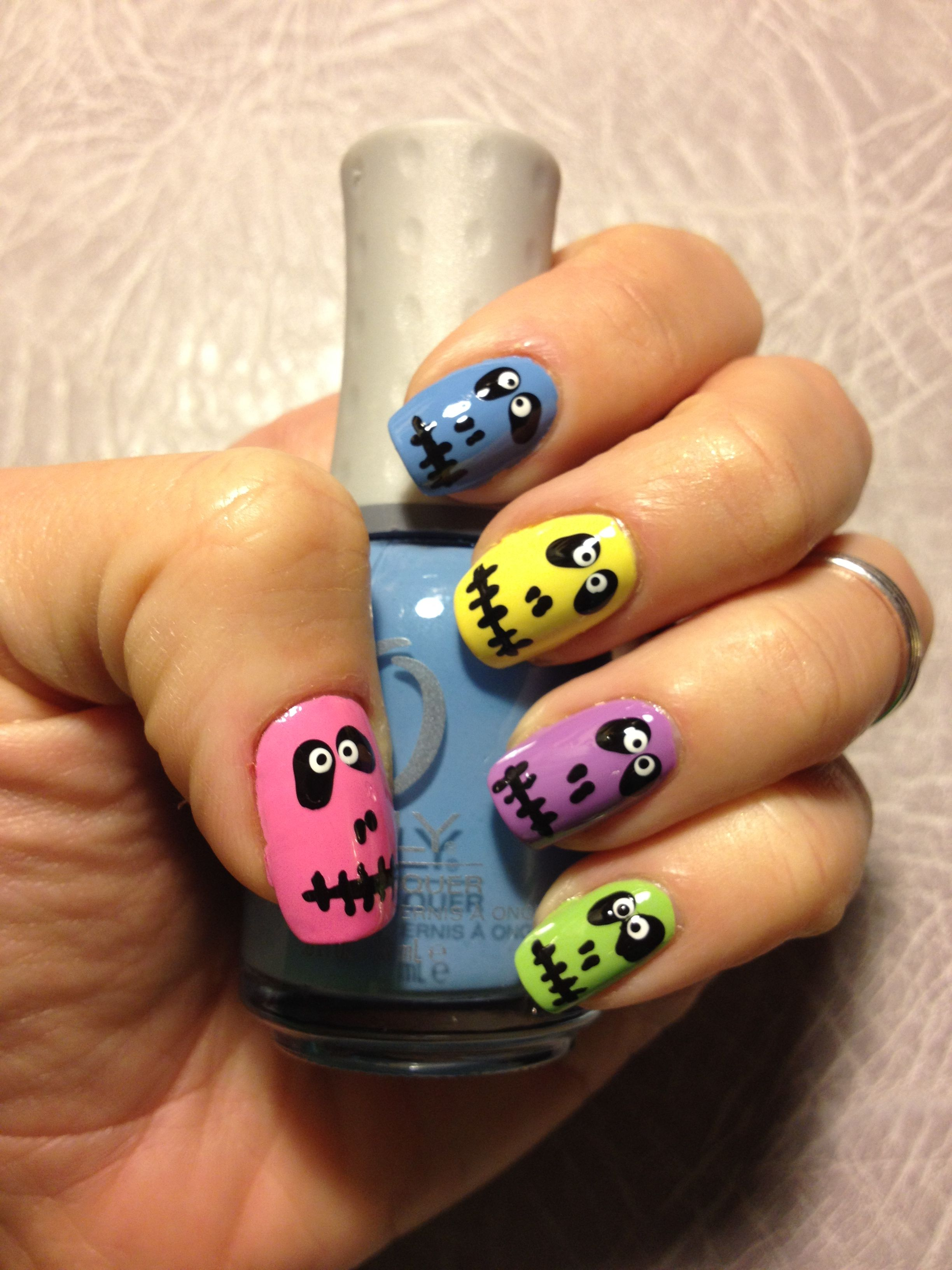 Colorful skeleton nail art my nail designs pinterest skeletons colorful skeleton nail art prinsesfo Images