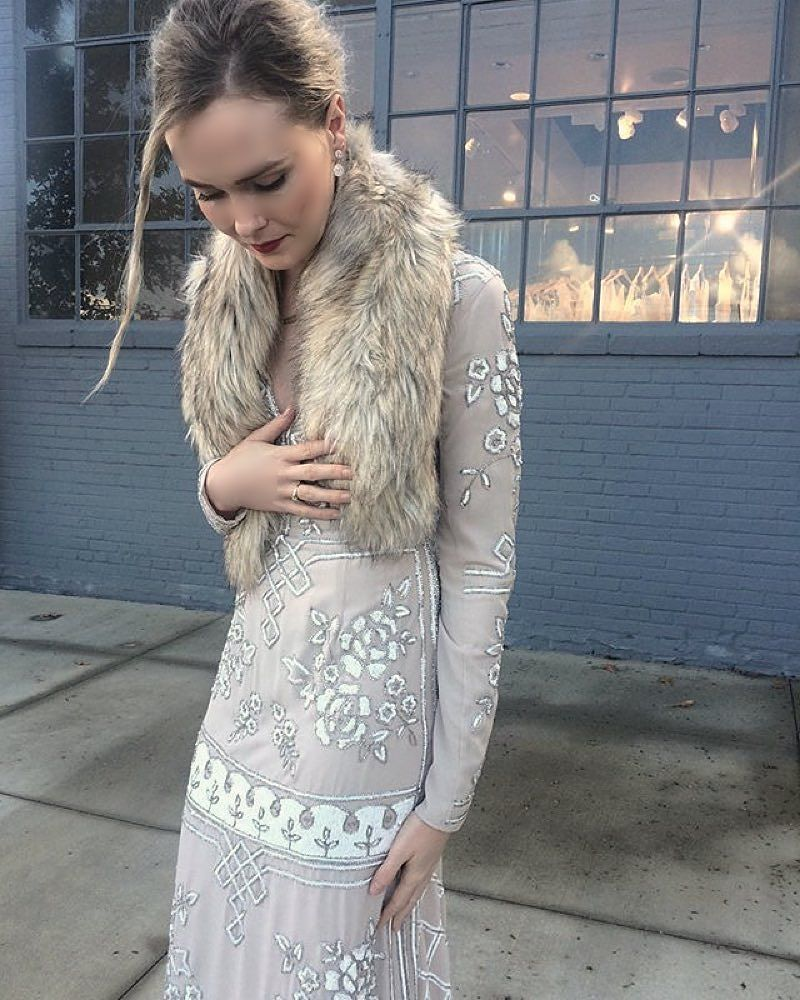 We can't get enough of this boho-luxe look from our Atlanta stylists! The Lake Gown with a faux-fur stole is👌👌 Regram via @ahhhhhhhllison (link in profile to shop this pic) #BHLDNatlanta #BHLDNstylists