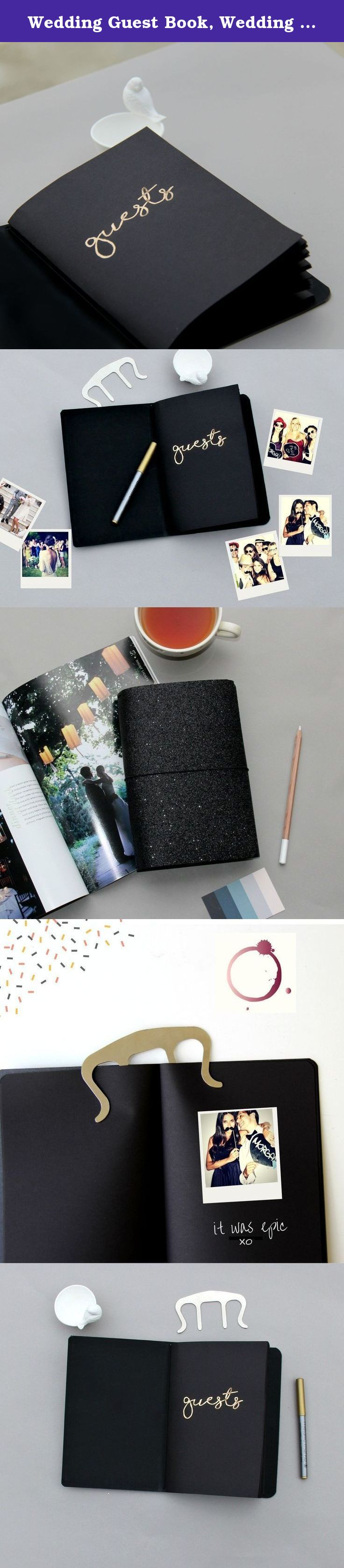 Wedding Guest Book Alternative Glamorous Keepsake Black Glitter Cover With Paper Guestbook Album Insert For Instax Polaroids And