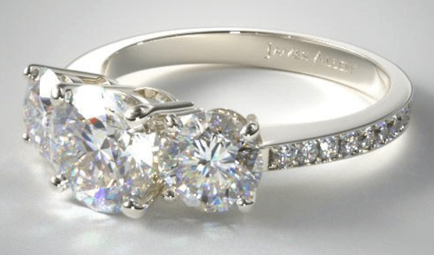 Three Stone Round and pave set diamond engagement ring Rings