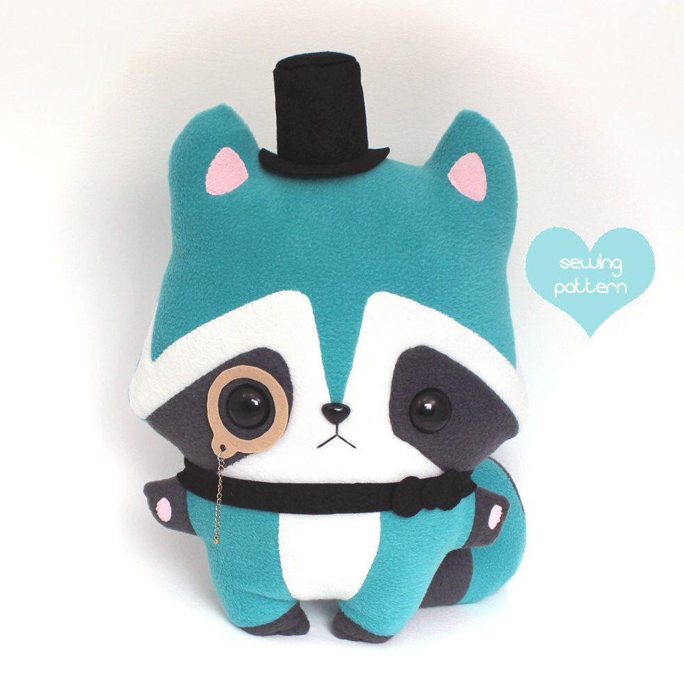 "PDF sewing pattern - Raccoon stuffed animal kawaii woodland plushie - easy beginner cute DIY anime softie plush toy 14"" by TeacupLion on Etsy https://www.etsy.com/se-en/listing/155255467/pdf-sewing-pattern-raccoon-stuffed"