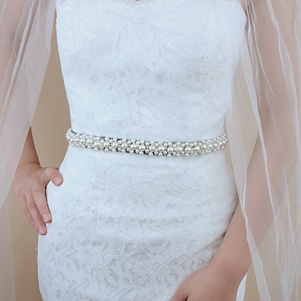 Photo of TRiXY S184 Pearls Wedding Belt Crystal Bridal Sash Elegant P…