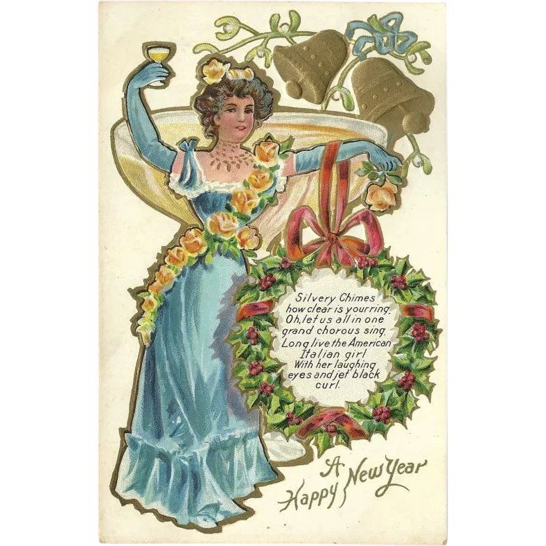 Embossed Happy New Year Postcard with Italian American