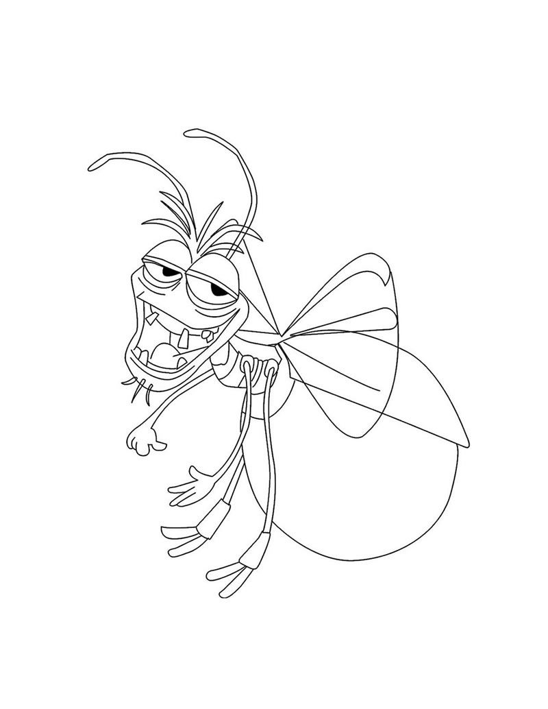 Tiana and Naveen Coloring Pages | Ray the lovesick Cajun firefly ...