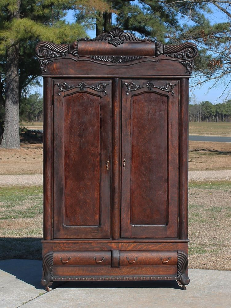Oak Armoire Wardrobe | Antique oak furniture, Victorian ...