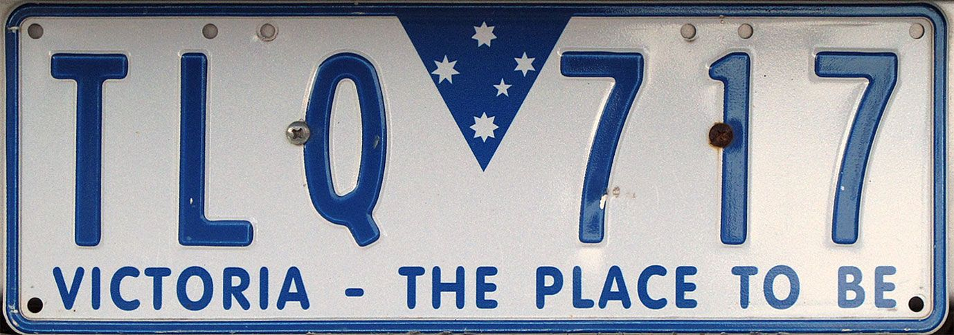 Victoria, The Place To Be License plate, Plates