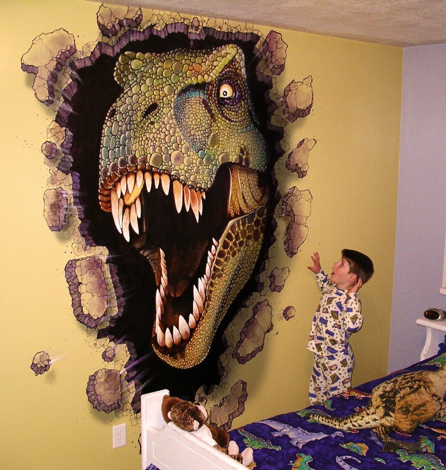 Boys dinosaur room miles woods art wall murals jr 39 s for Dinosaur wall mural uk