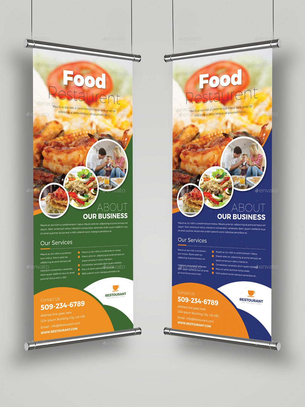 The awesome Food Restaurant Roll Up Banner Signage Template For Food Banner Temp...