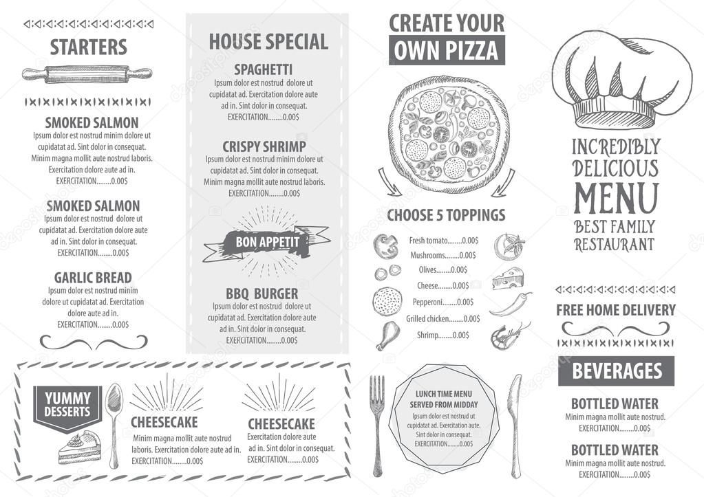 Italian restaurant menu template design — Stock