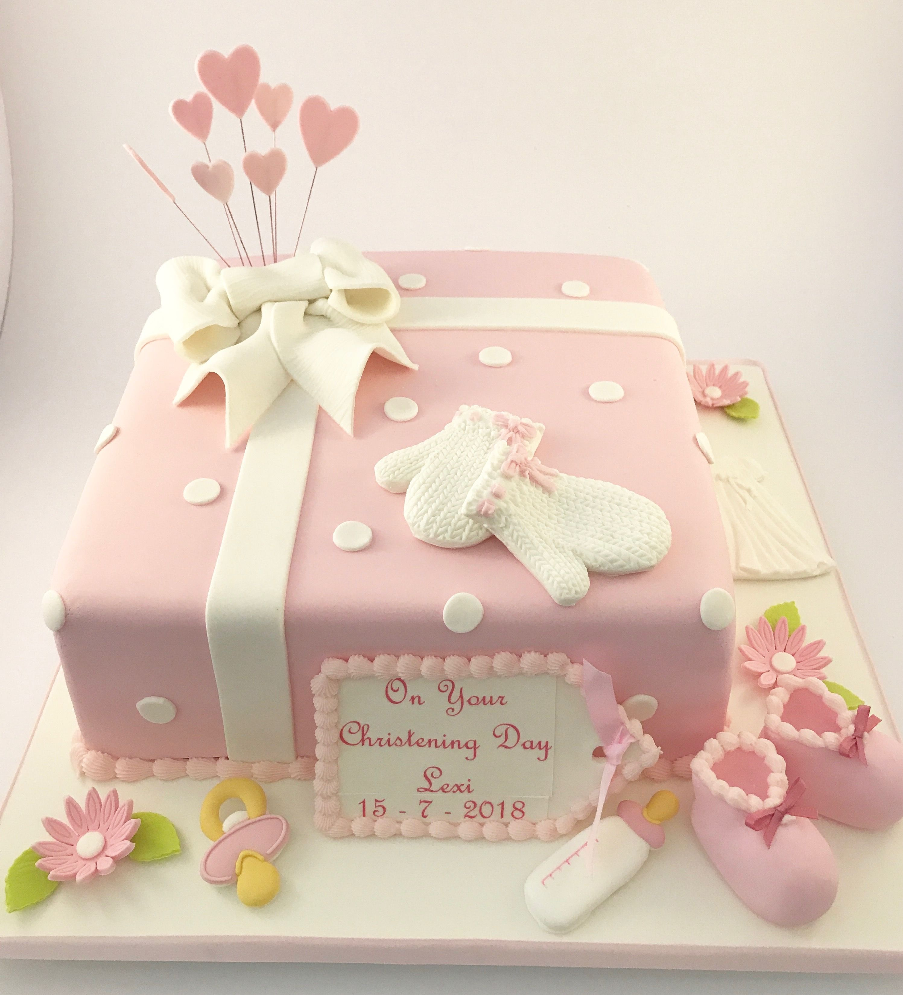 Christening Cake With Sugar Decorations Thedanesbakery With
