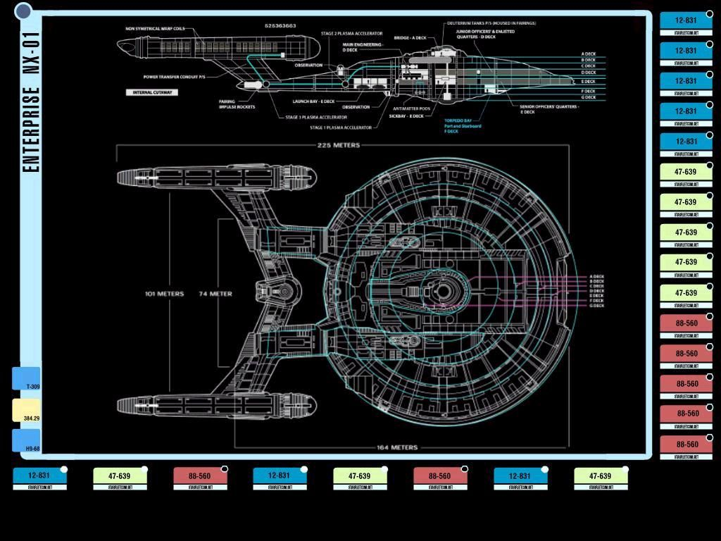 Colored Schematic Of Columbia Class Starship; U.S.S. Enterprise NX 01