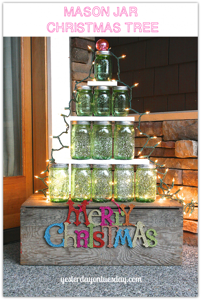Mason Jar Christmas Tree Lovely Christmas Decor From Yesterday On Tuesday Christmas Mason Jars Christmas Jars Green Mason Jars