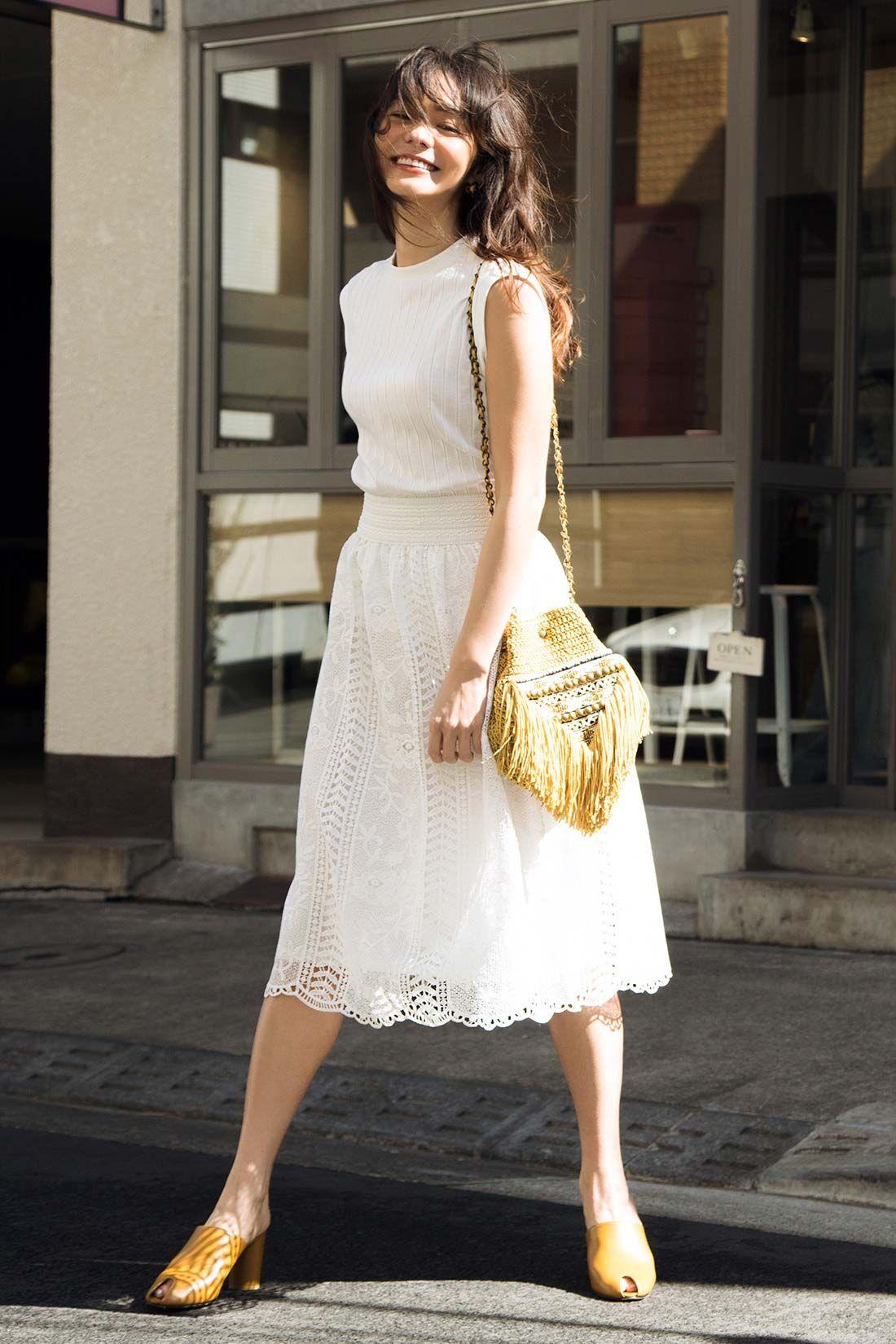 iedit summer 2017 iedit イディット フェリシモ エレガンススタイル ファッションアイデア 白レーススカート