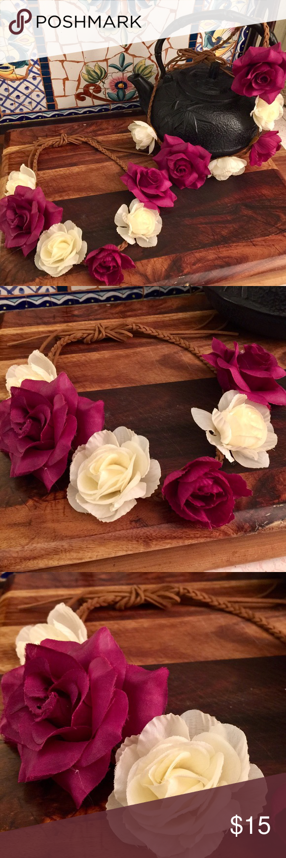 Floral Head Band Wine & Roses Let your inner Boho girl shine! These beautiful flowered head bands are on braided suede strips that tie and will adjust to any head size. Brand new! Wear them around your head as a crown wreath or as a head band. Accessories Hair Accessories