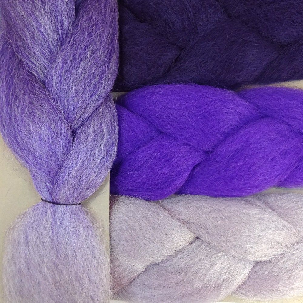 Kanekalon Color Comparison Showing Violet Ombr On The Left And Deep