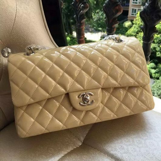 32cb28eb03be Wholesale Chanel 1112 Flap bag Apricot skin Leather silver
