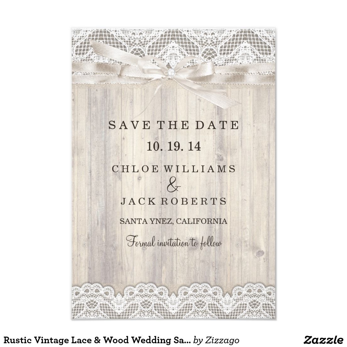 Rustic Vintage Lace Wood Wedding Save The Date Card Vintage Lace