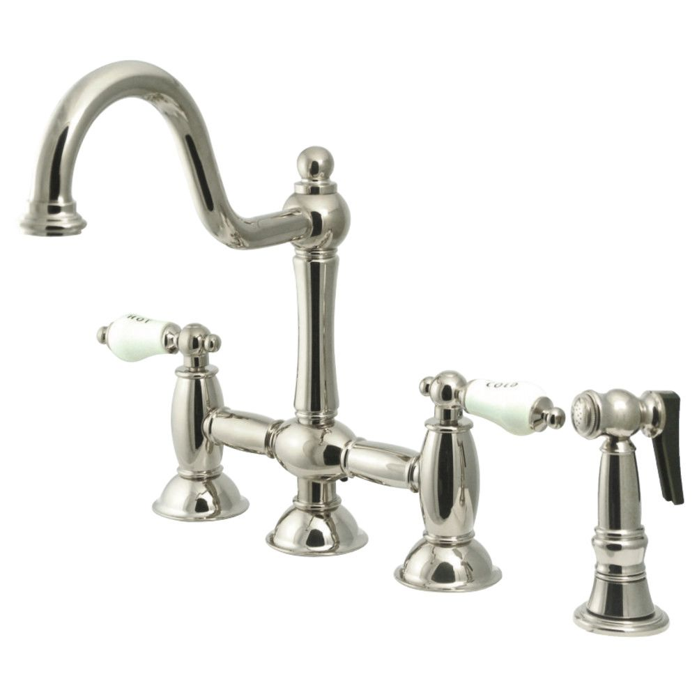KS3798PLBS Restoration Kitchen Bridge Faucet with Brass Sprayer ...