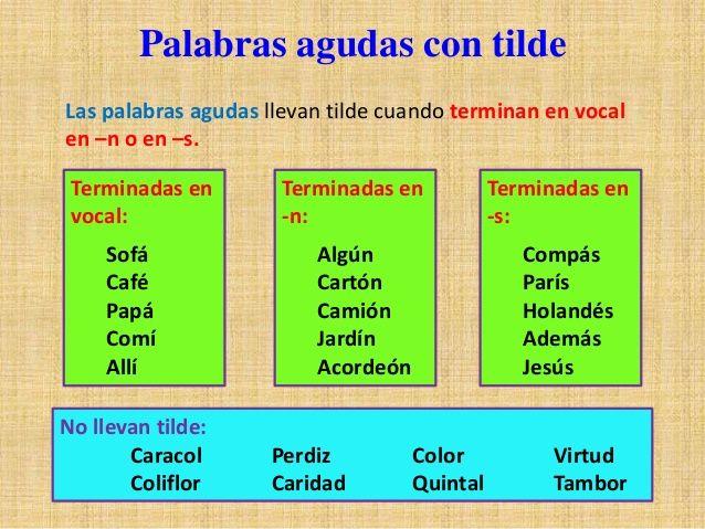 Imagen Relacionada Palabras Llanas Palabras Llanas Con Tilde Palabras Agudas Con Tilde