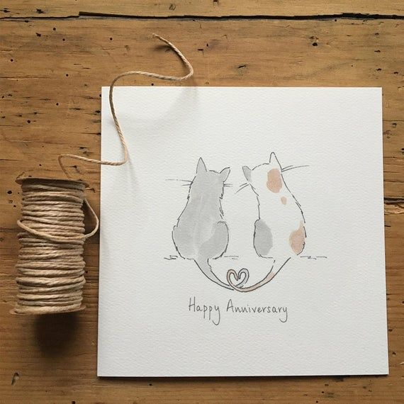Anniversary Card Happy Anniversary Cats Watercolor Anniversary Card Anniversary Cards 50th Anniversary Cards
