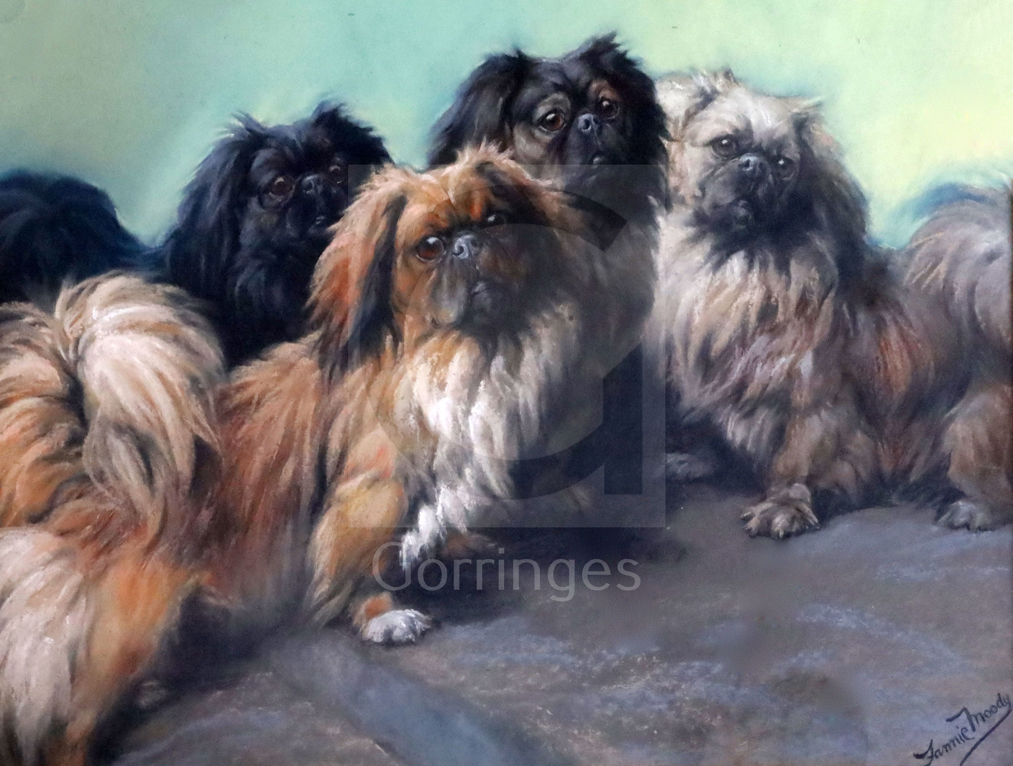 Fannie Moody (18611948)pastel'The Family'; four Pekinese