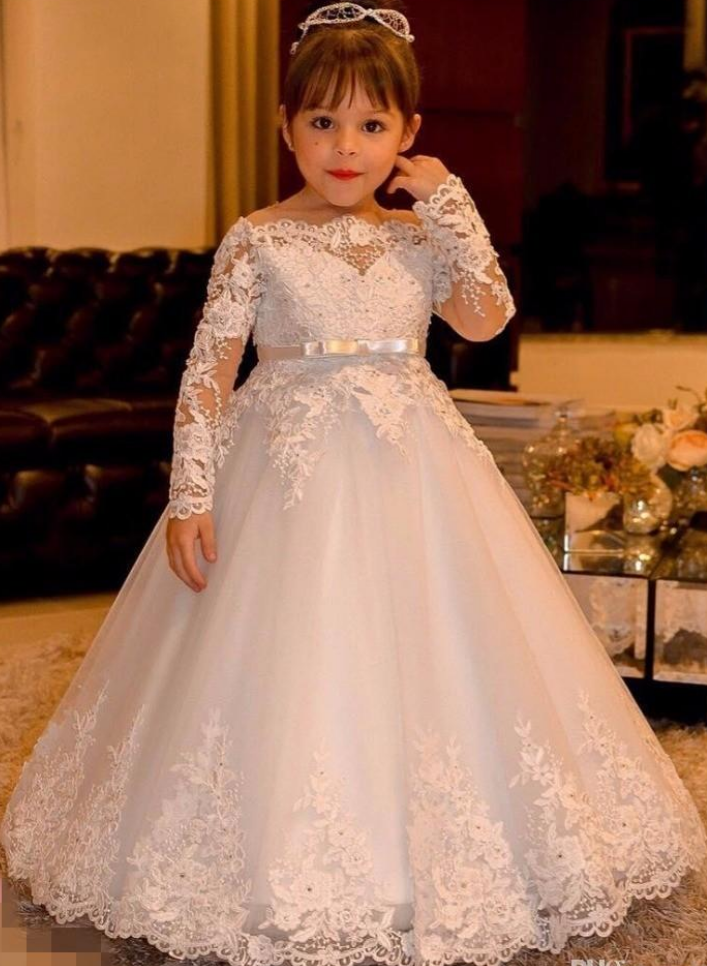 Pretty Long Sleeve Ball Gown Flower Girl Dresses Princess Dresses