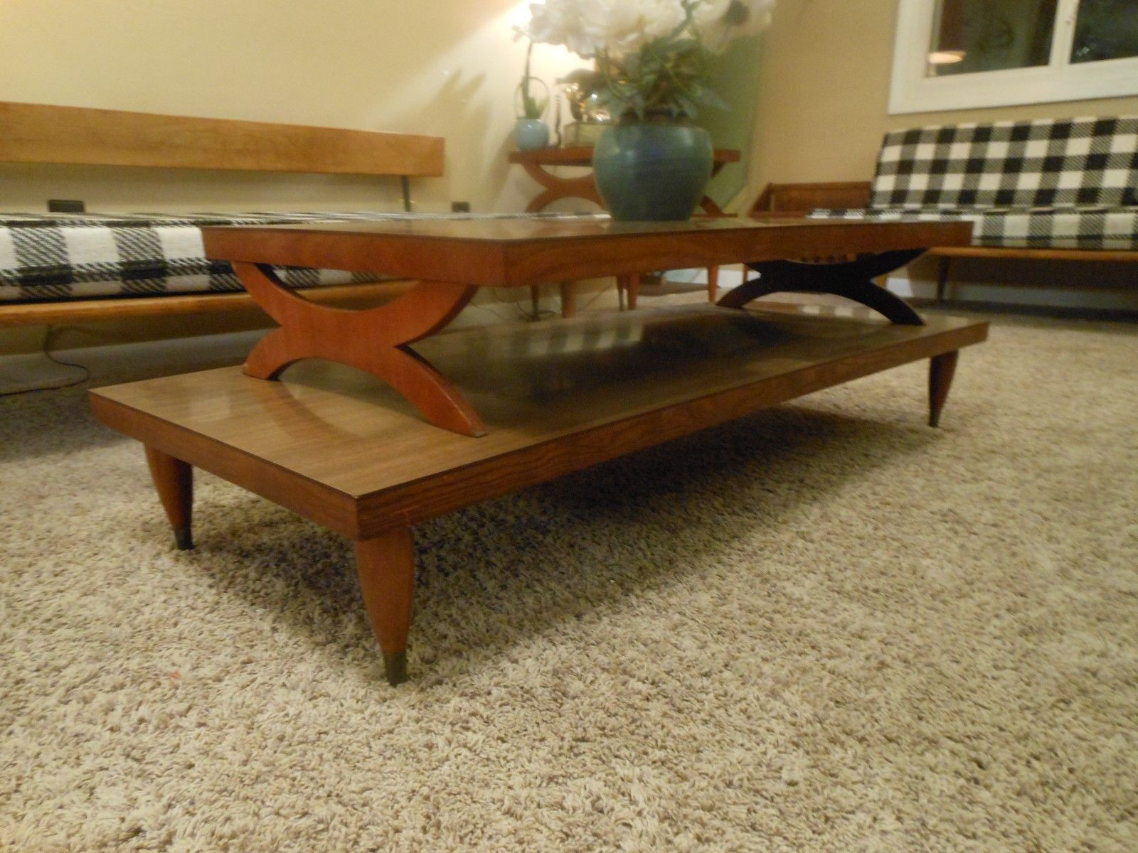 Danish Mid Century Atomic 2 Tier Coffee Table 2 End Tables Mad Men