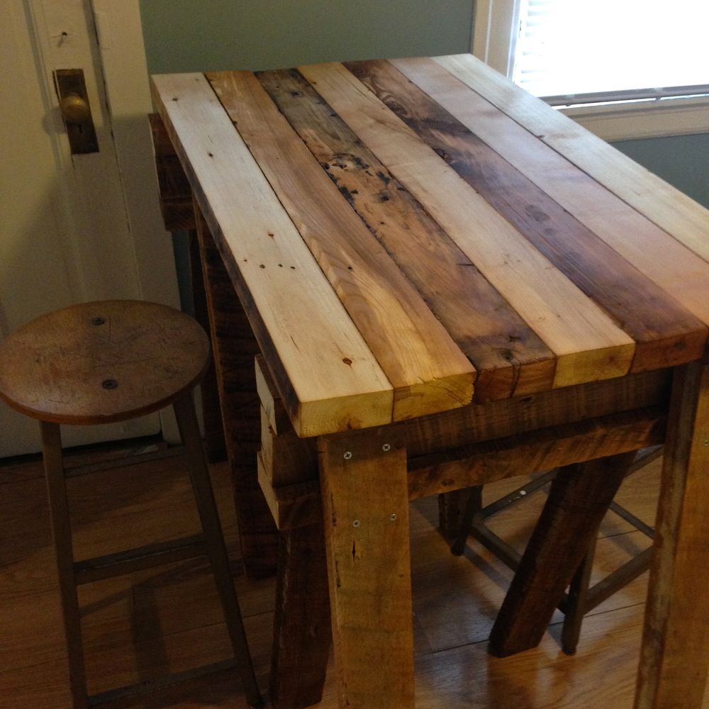 Reclaimed wood kitchen island top living spaces for Kitchen island table with chairs